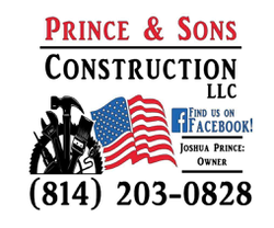 Prince & Sons Construction, LLC sponsorship sticker